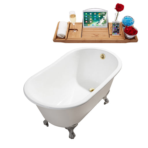 "53"" Cast Iron R5460CH-GLD Soaking Clawfoot Tub and Tray with External Drain"