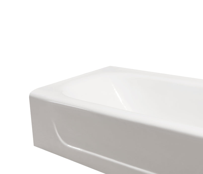 "60"" Cast Iron R5480CH Soaking Alcove Tub and Tray with Drain"