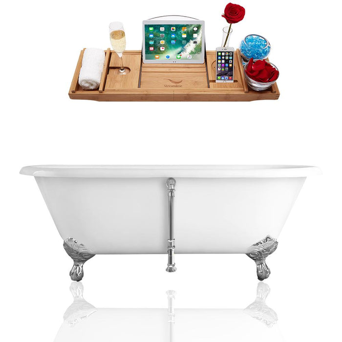 "60"" Streamline Cast Iron R5500CH-CH Soaking Clawfoot Tub and Tray with External Drain"