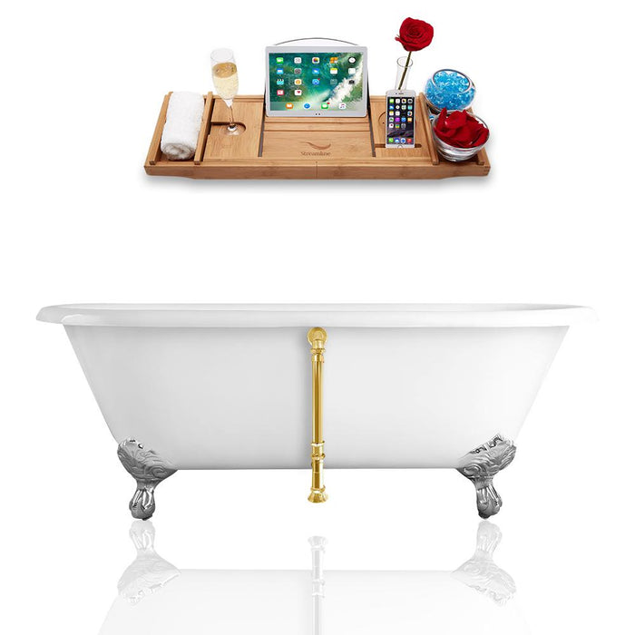 "66"" Streamline Cast Iron R5501CH-GLD Soaking Clawfoot Tub and Tray with External Drain"