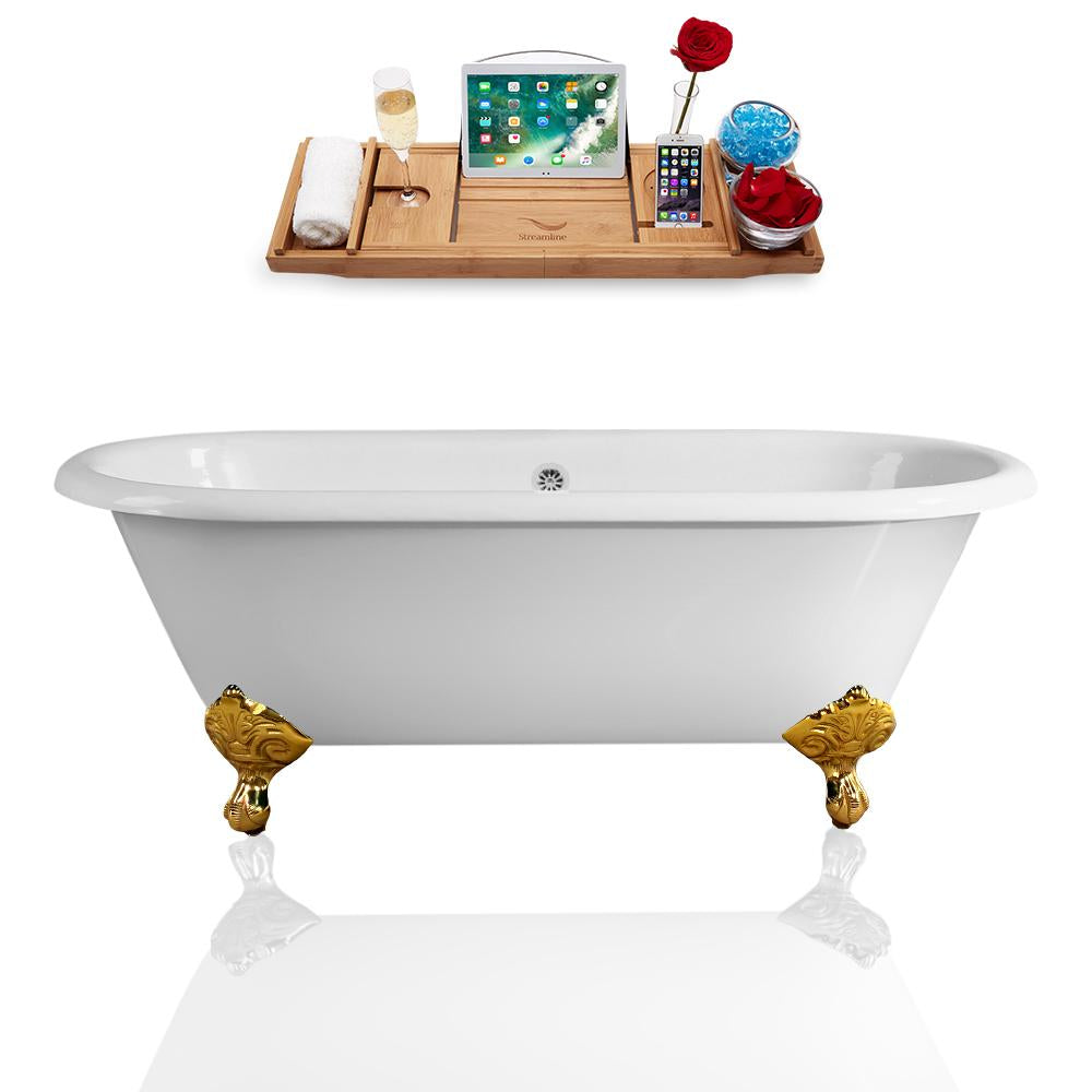 "66"" Streamline Cast Iron R5501GLD-CH Soaking Clawfoot Tub and Tray with External Drain"