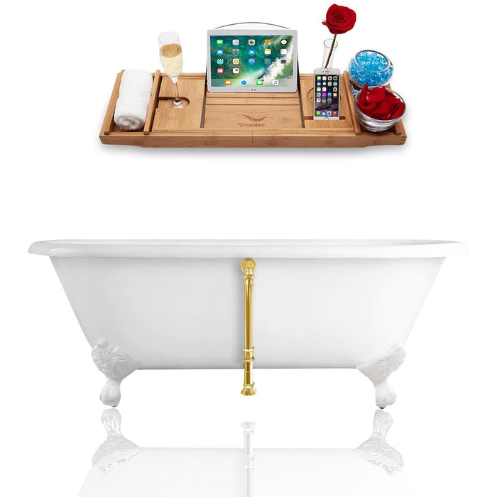 "66"" Streamline Cast Iron R5501WH-GLD Soaking Clawfoot Tub and Tray with External Drain"
