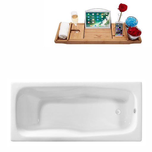 "71"" Streamline Cast Iron R5540WH Drop In Bathtub with External Drain"