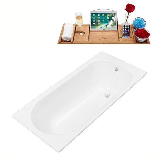 "59"" Streamline Cast Iron R5560WH Drop In Bathtub with External Drain"