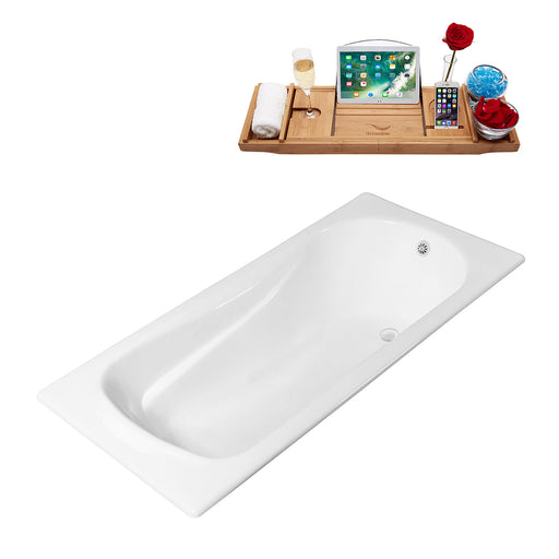 71'' Streamline Cast Iron R5622WH Drop In Bathtub With External Drain