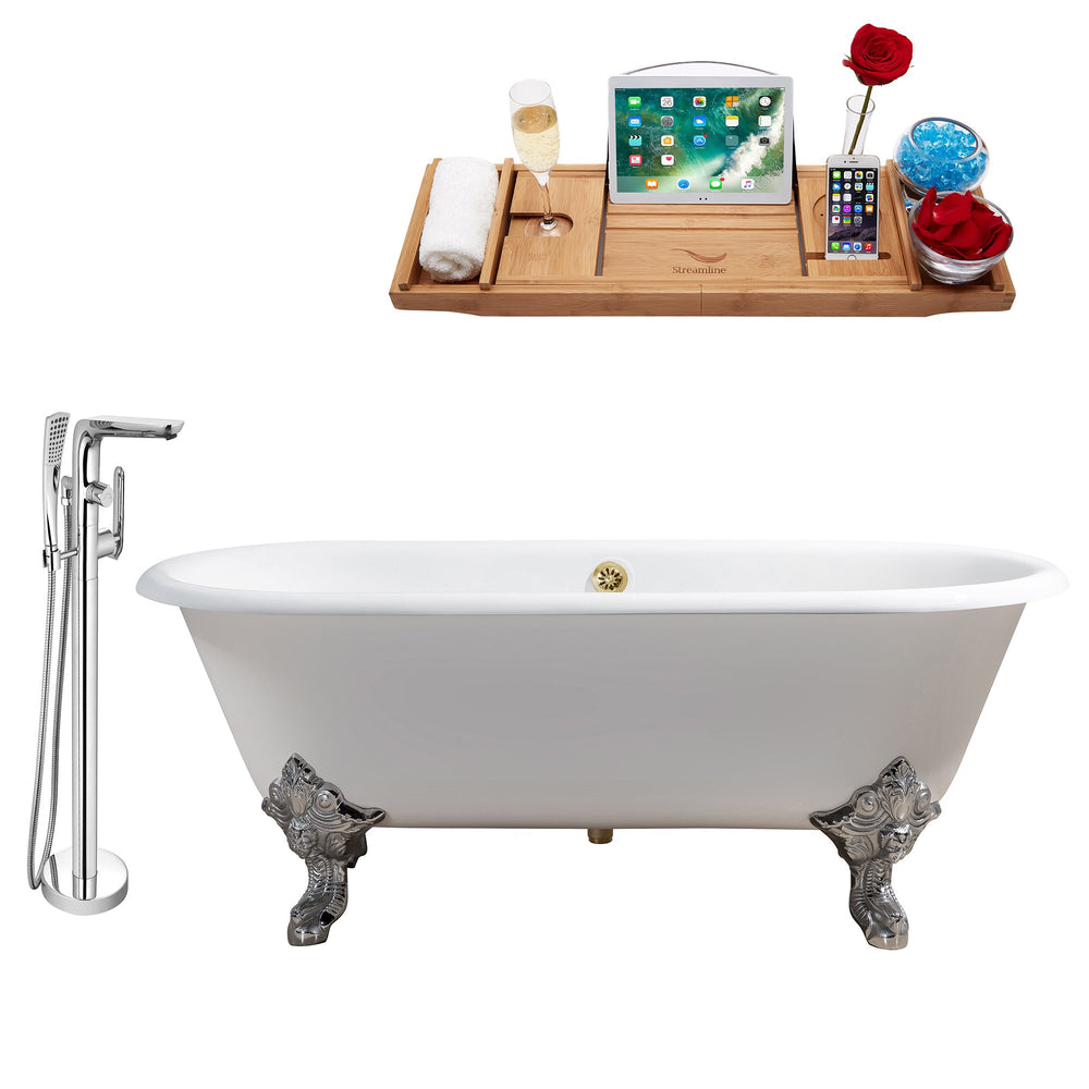 "Cast Iron Tub, Faucet and Tray Set 69"" RH5001CH-GLD-120"