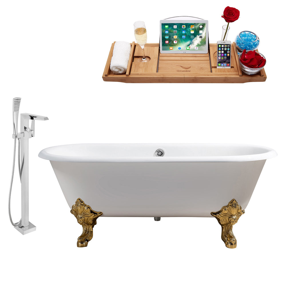 "Cast Iron Tub, Faucet and Tray Set 69"" RH5001GLD-CH-100"