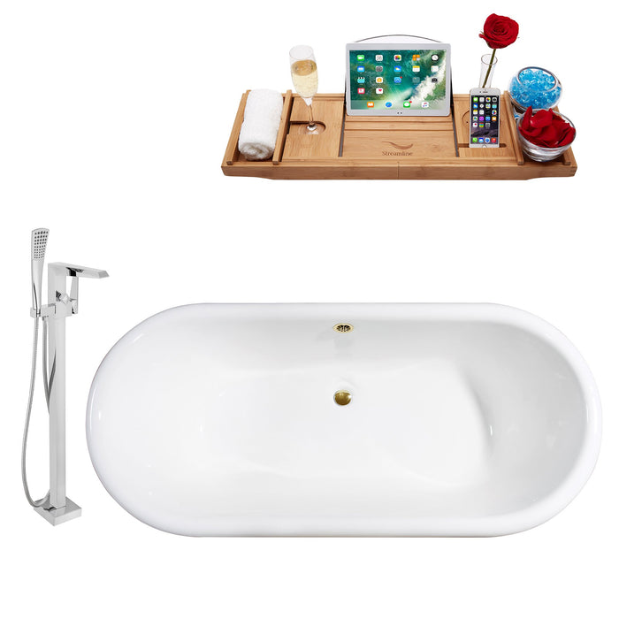 "Cast Iron Tub, Faucet and Tray Set 69"" RH5001GLD-GLD-100"