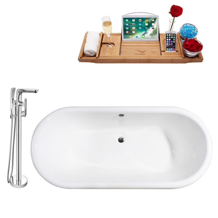 "Cast Iron Tub, Faucet and Tray Set 69"" RH5001WH-CH-120"