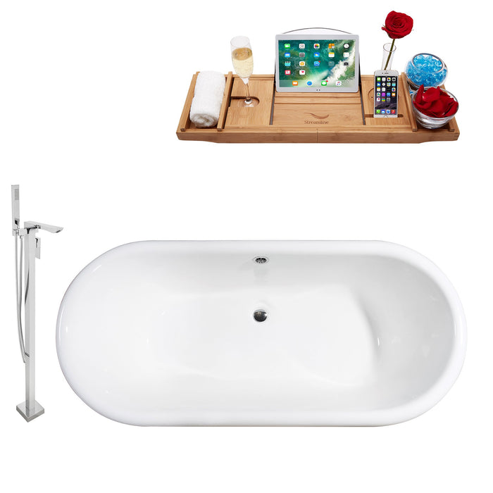 "Cast Iron Tub, Faucet and Tray Set 69"" RH5001WH-CH-140"
