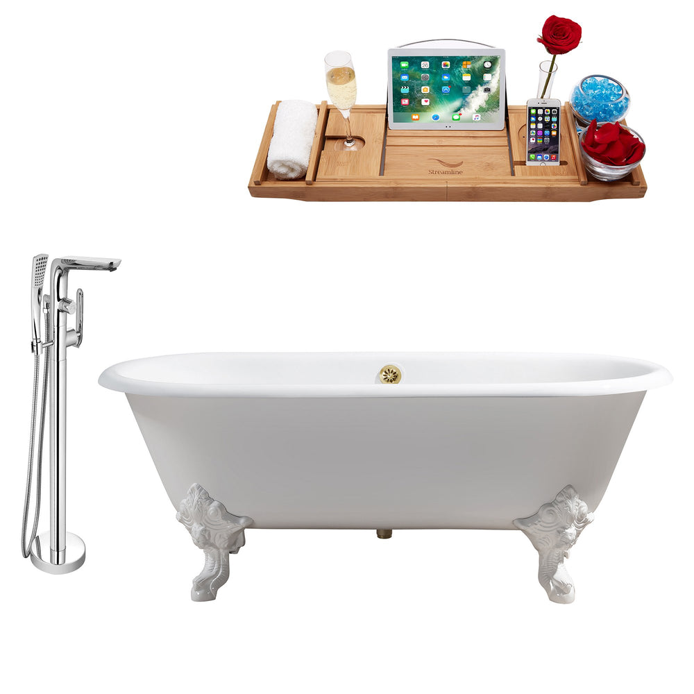 "Cast Iron Tub, Faucet and Tray Set 69"" RH5001WH-GLD-120"