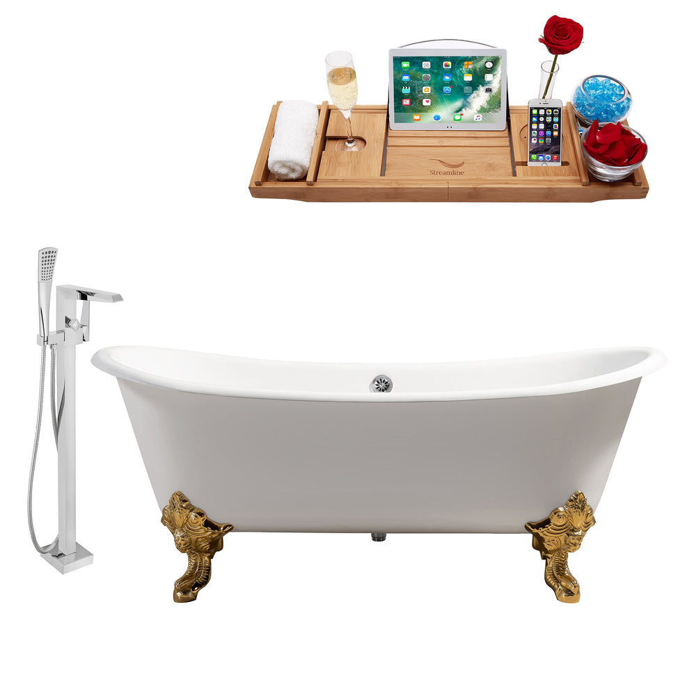 "Cast Iron Tub, Faucet and Tray Set 72"" RH5020GLD-CH-100"