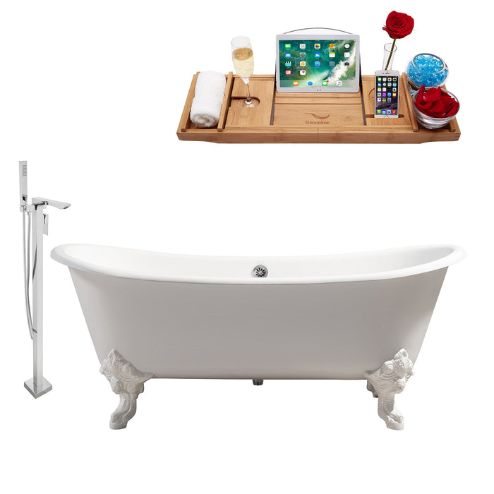 "Cast Iron Tub, Faucet and Tray Set 72"" RH5020WH-CH-140"