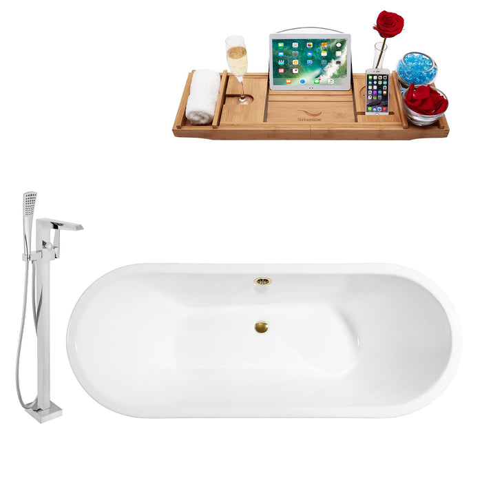 "Cast Iron Tub, Faucet and Tray Set 67"" RH5042GLD-100"