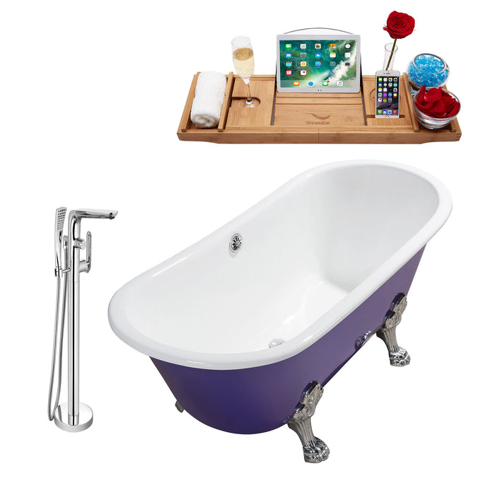 "Cast Iron Tub, Faucet and Tray Set 67"" RH5060CH-CH-120"