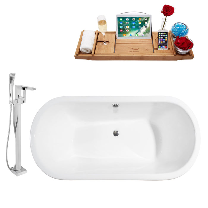 "Cast Iron Tub, Faucet and Tray Set 67"" RH5060GLD-CH-100"