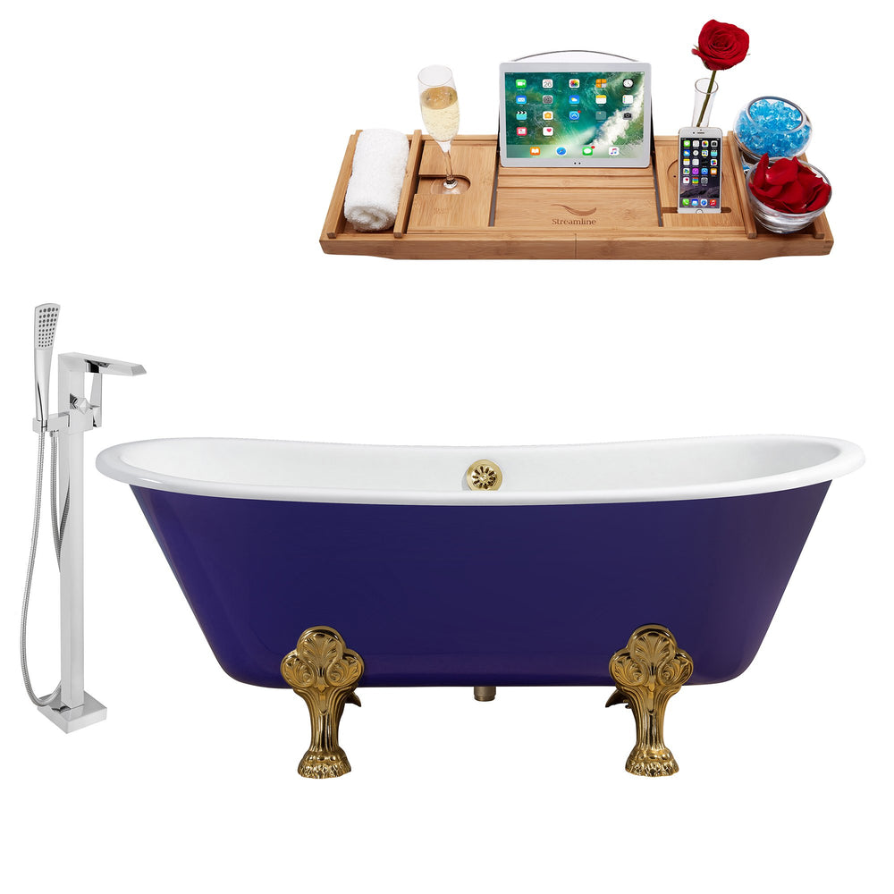 "Cast Iron Tub, Faucet and Tray Set 67"" RH5060GLD-GLD-100"