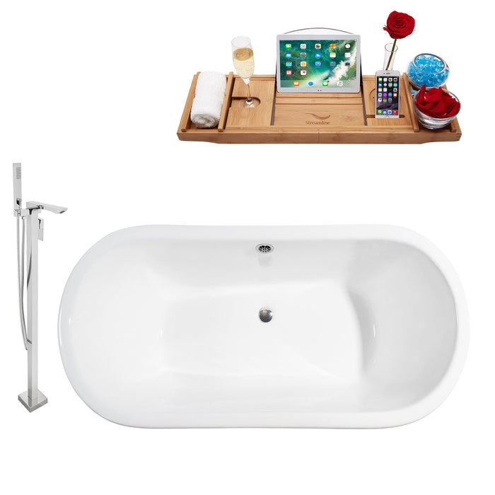 "Cast Iron Tub, Faucet and Tray Set 67"" RH5060WH-CH-140"