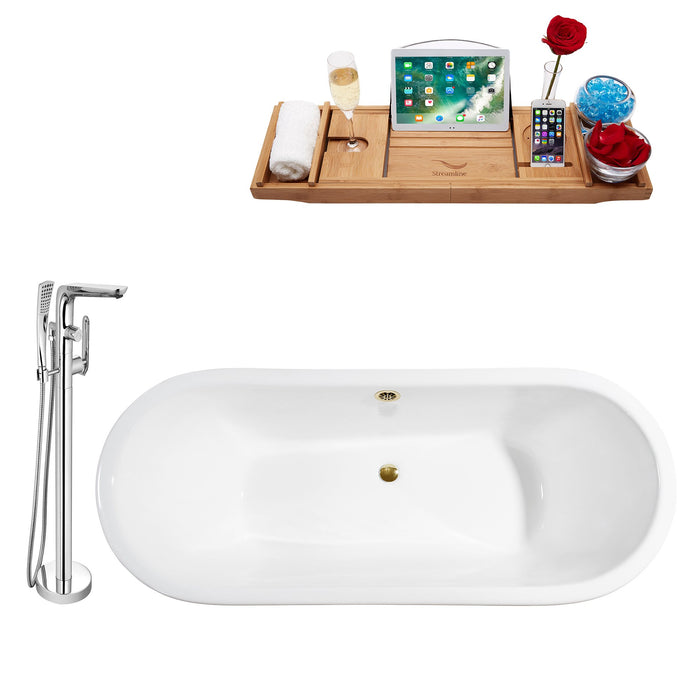"Cast Iron Tub, Faucet and Tray Set 67"" RH5060WH-GLD-120"