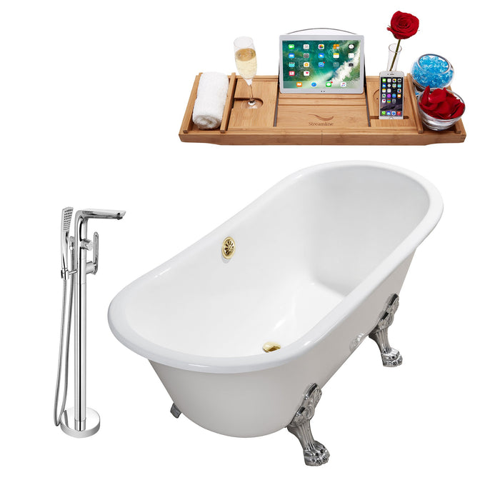 "Cast Iron Tub, Faucet and Tray Set 67"" RH5061CH-GLD-120"