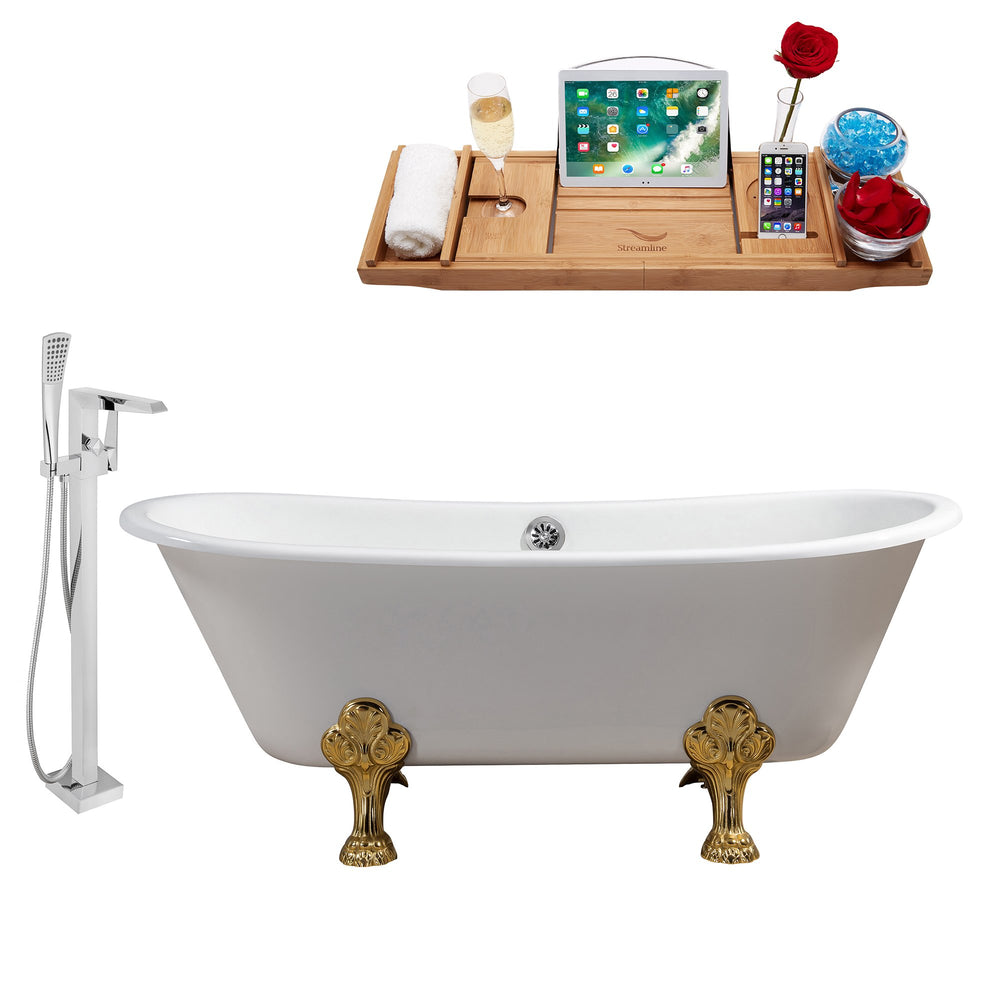 "Cast Iron Tub, Faucet and Tray Set 67"" RH5061GLD-CH-100"