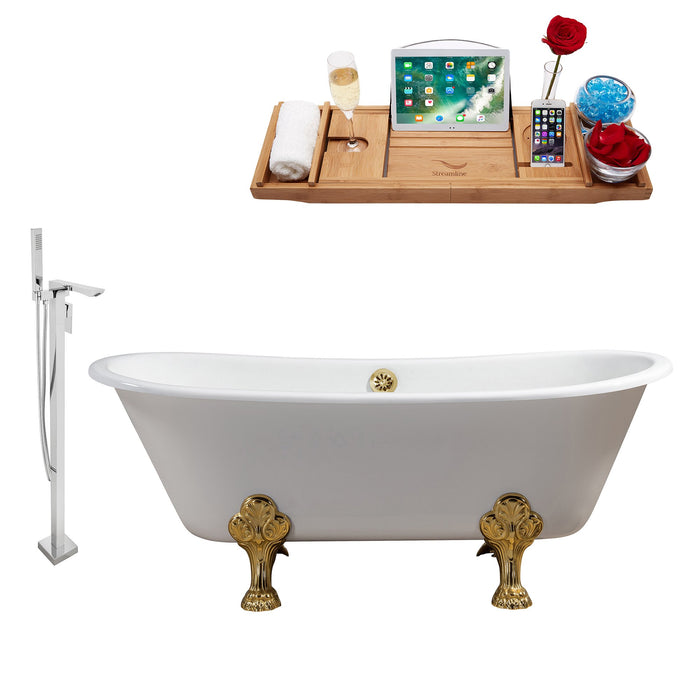 "Cast Iron Tub, Faucet and Tray Set 67"" RH5061GLD-GLD-140"