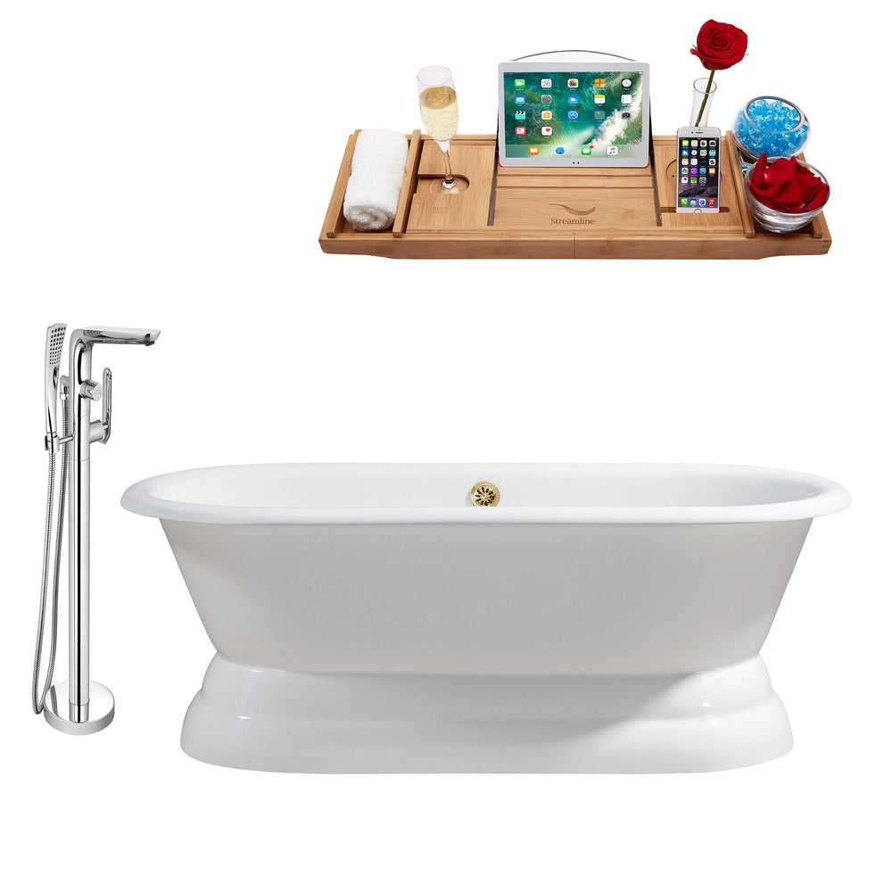 "Cast Iron Tub, Faucet and Tray Set 66"" RH5080GLD-120"