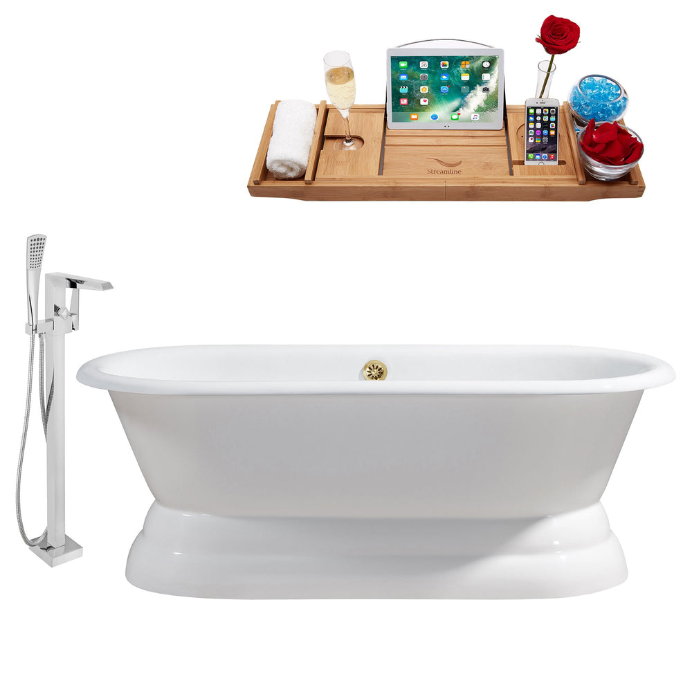 "Cast Iron Tub, Faucet and Tray Set 60"" RH5081GLD-100"