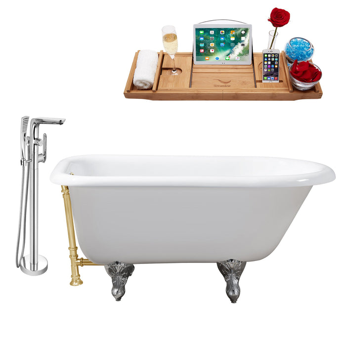 "Cast Iron Tub, Faucet and Tray Set 66"" RH5100CH-GLD-120"