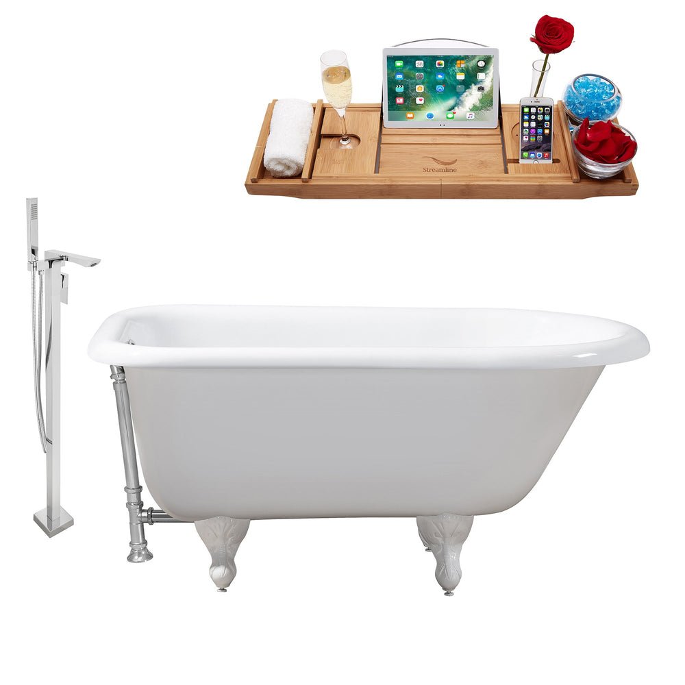 "Cast Iron Tub, Faucet and Tray Set 66"" RH5100WH-CH-140"