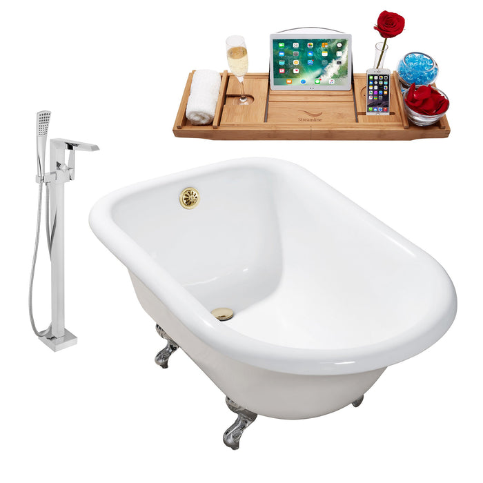"Cast Iron Tub, Faucet and Tray Set 48"" RH5101CH-GLD-100"