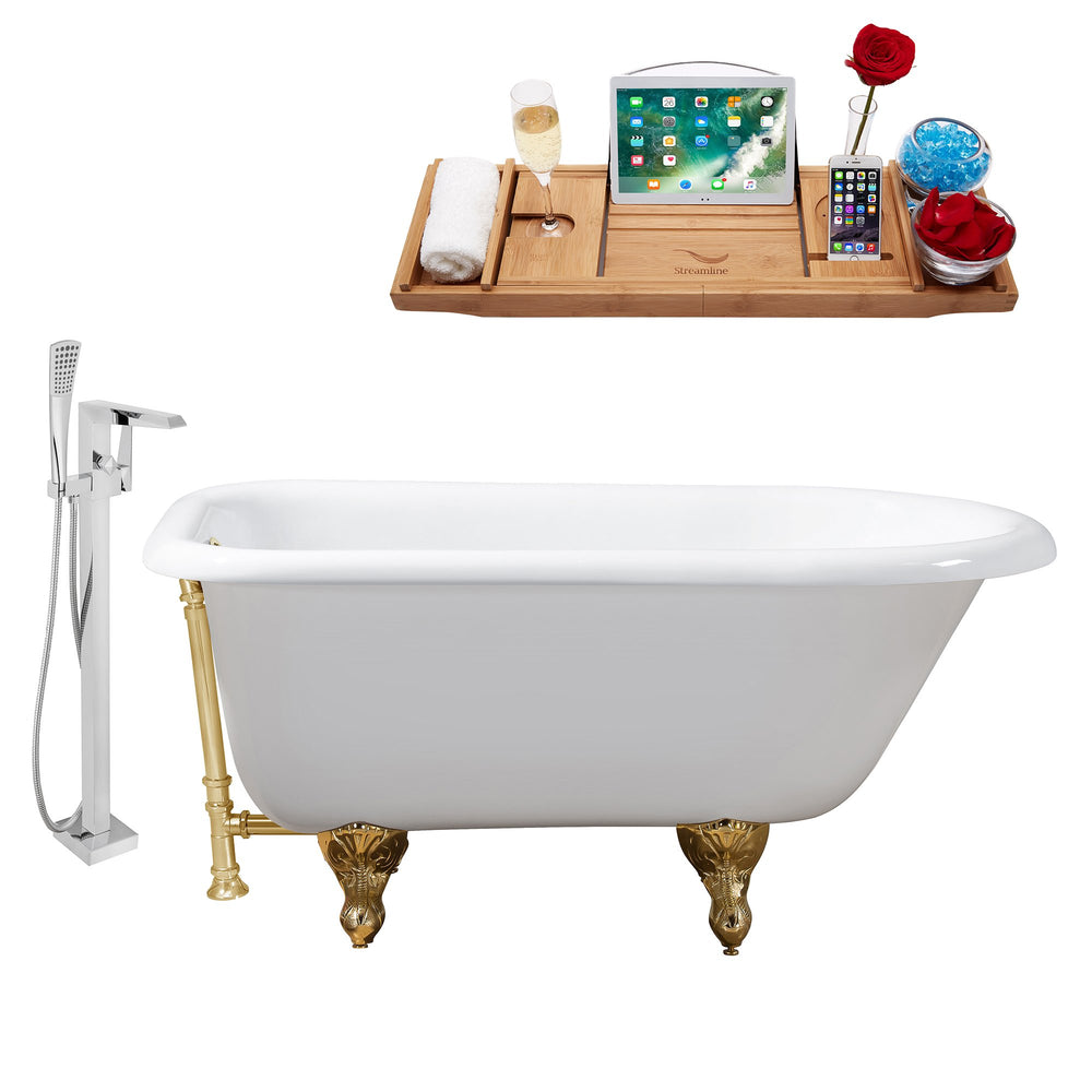 "Cast Iron Tub, Faucet and Tray Set 48"" RH5101GLD-GLD-100"