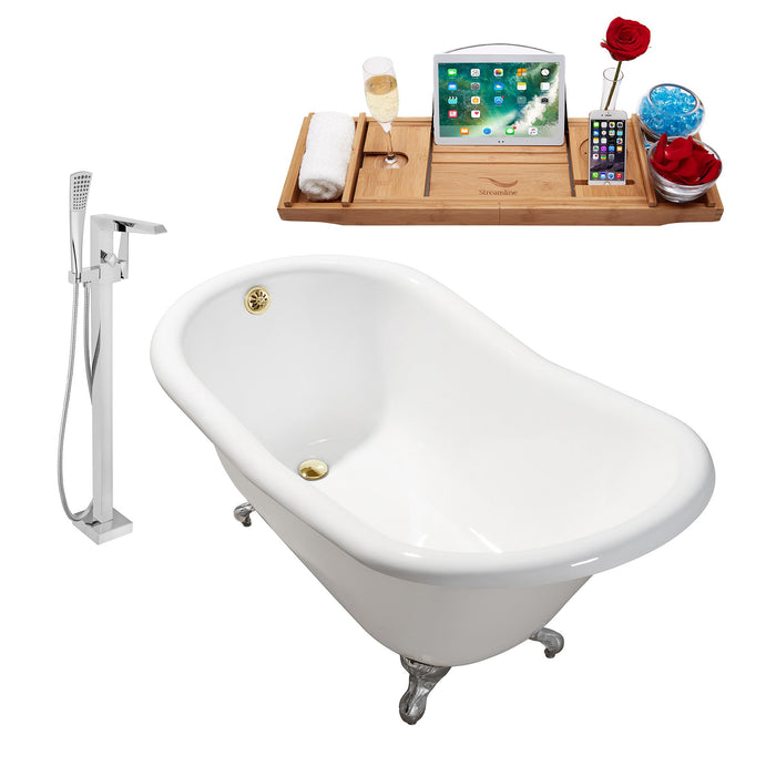 "Cast Iron Tub, Faucet and Tray Set 60"" RH5120CH-GLD-100"