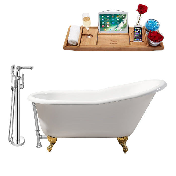 "Cast Iron Tub, Faucet and Tray Set 60"" RH5120GLD-CH-120"