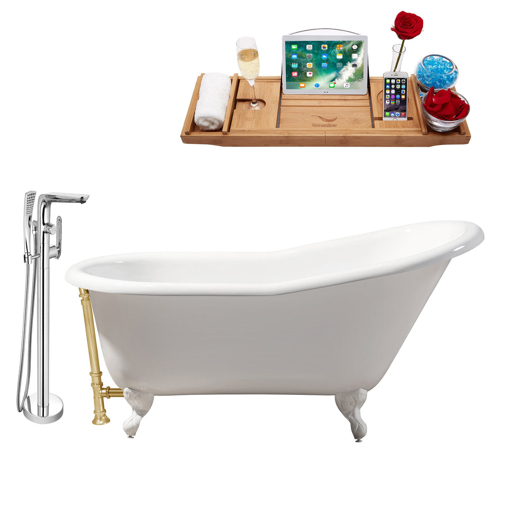 "Cast Iron Tub, Faucet and Tray Set 60"" RH5120WH-GLD-120"