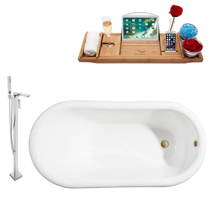 "Cast Iron Tub, Faucet and Tray Set 60"" RH5120WH-GLD-140"
