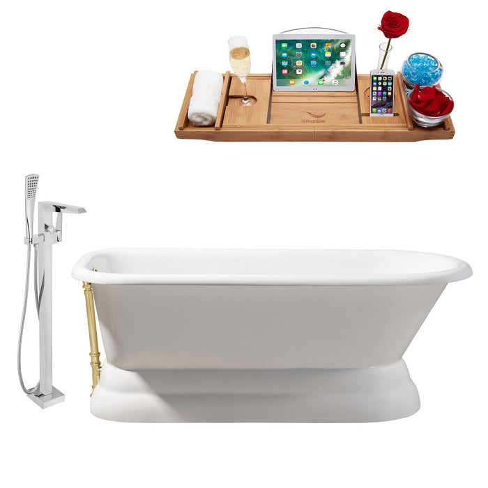 "Cast Iron Tub, Faucet and Tray Set 66"" RH5140GLD-100"