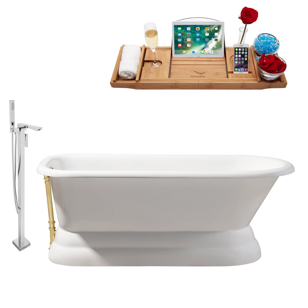 "Cast Iron Tub, Faucet and Tray Set 66"" RH5140GLD-140"