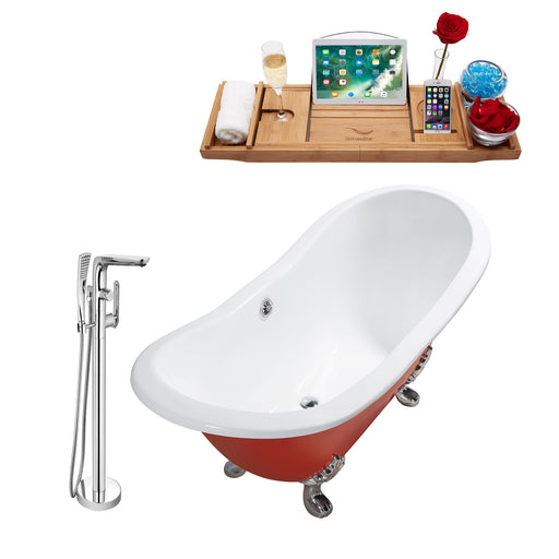 "Cast Iron Tub, Faucet and Tray Set 72"" RH5160CH-CH-120"