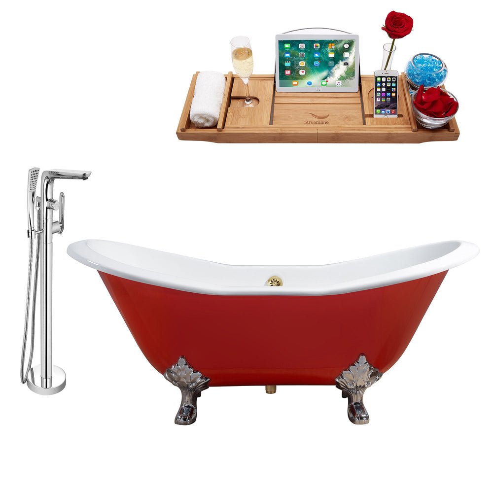 "Cast Iron Tub, Faucet and Tray Set 72"" RH5160CH-GLD-120"