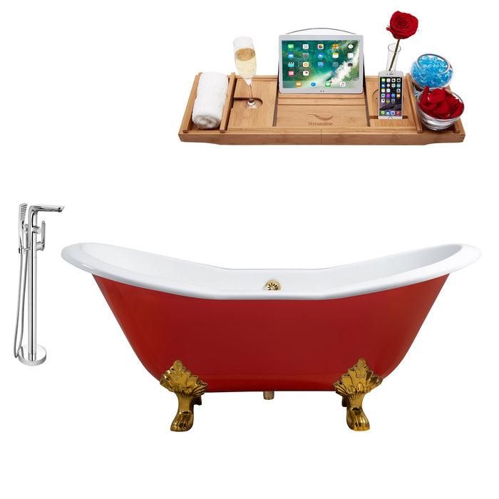 "Cast Iron Tub, Faucet and Tray Set 72"" RH5160GLD-GLD-120"