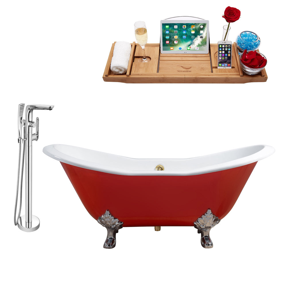 "Cast Iron Tub, Faucet and Tray Set 61"" RH5161CH-GLD-120"