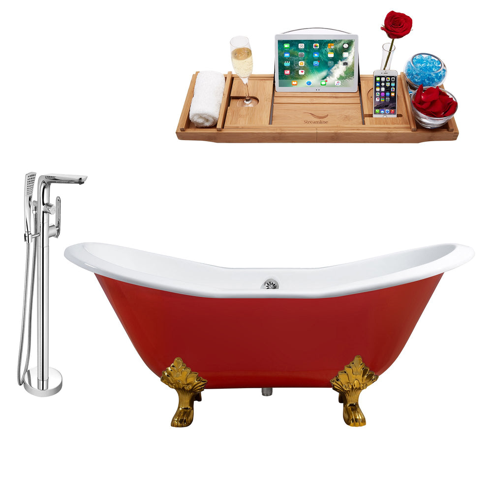 "Cast Iron Tub, Faucet and Tray Set 61"" RH5161GLD-CH-120"