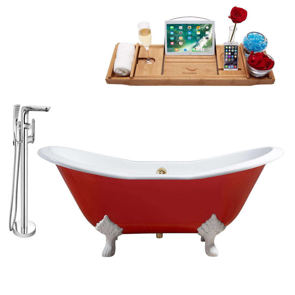 "Cast Iron Tub, Faucet and Tray Set 61"" RH5161WH-GLD-120"