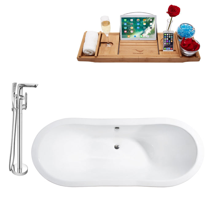 "Cast Iron Tub, Faucet and Tray Set 72"" RH5162CH-CH-120"