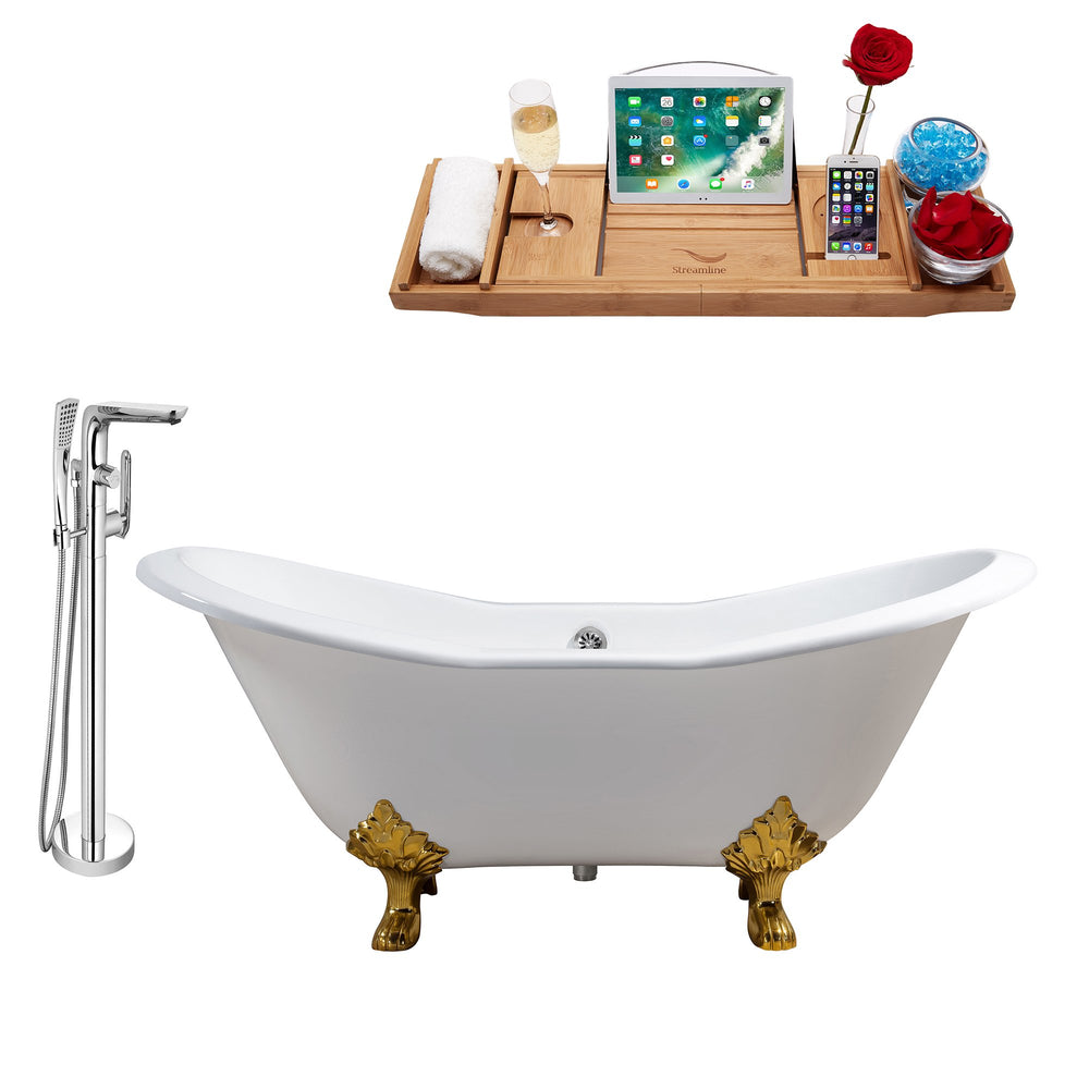 "Cast Iron Tub, Faucet and Tray Set 72"" RH5162GLD-CH-120"