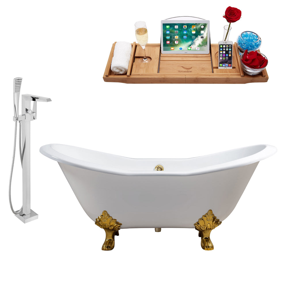 "Cast Iron Tub, Faucet and Tray Set 72"" RH5162GLD-GLD-100"