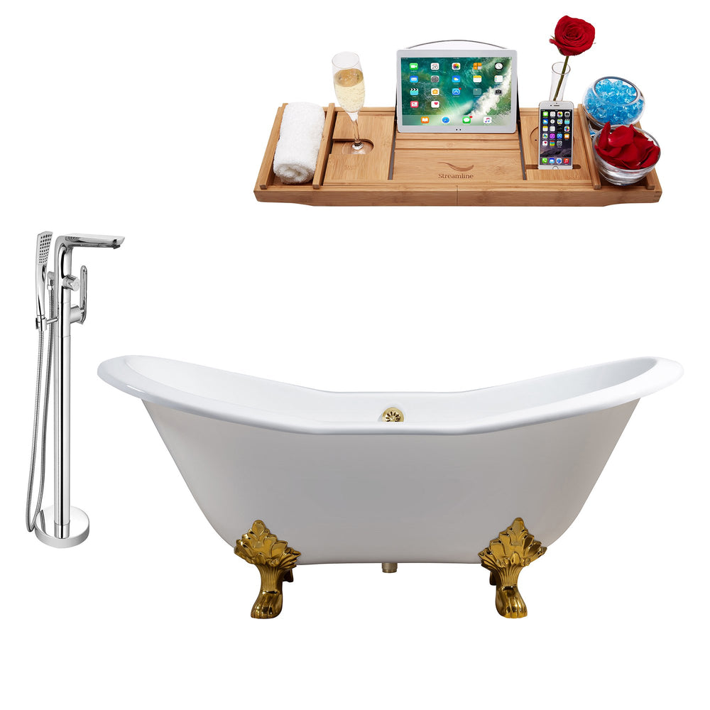 "Cast Iron Tub, Faucet and Tray Set 72"" RH5162GLD-GLD-120"