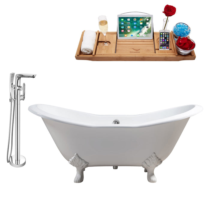 "Cast Iron Tub, Faucet and Tray Set 72"" RH5162WH-CH-120"