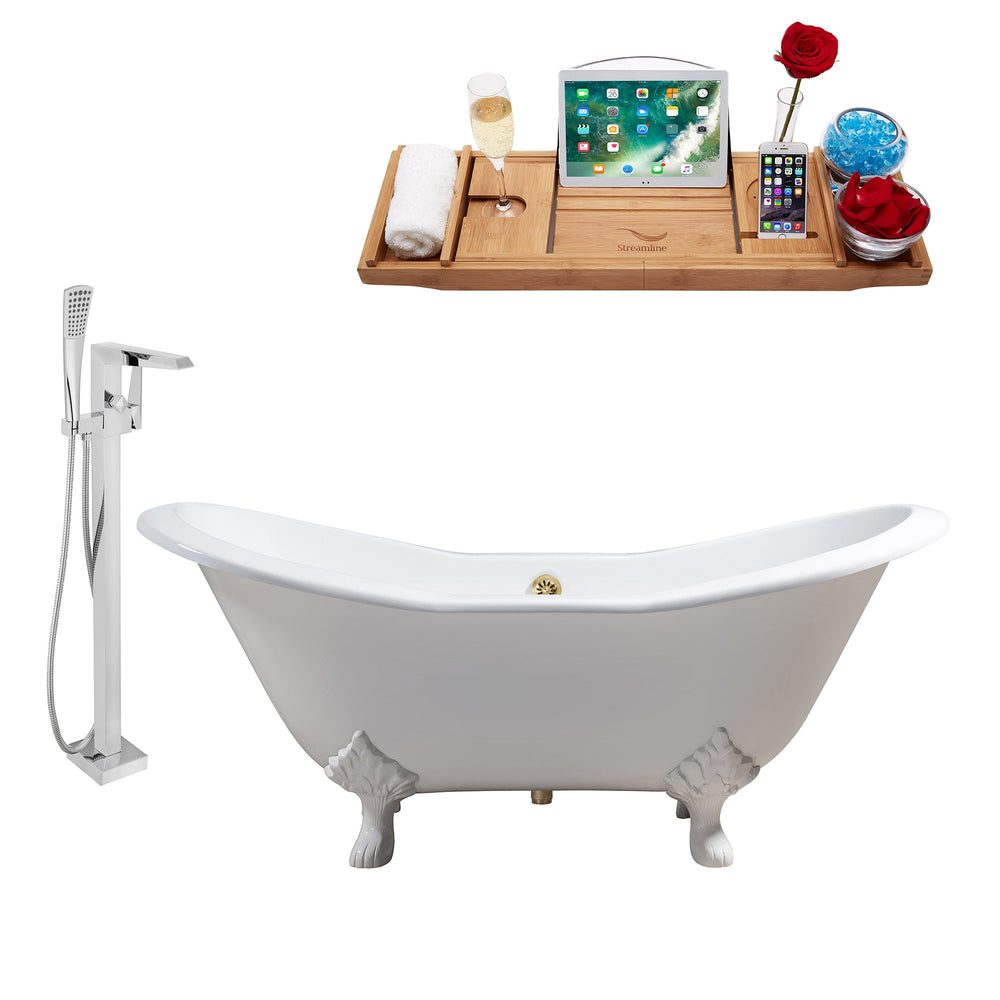"Cast Iron Tub, Faucet and Tray Set 72"" RH5162WH-GLD-100"